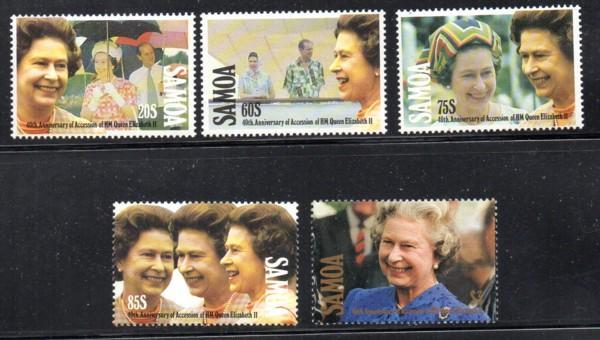 Samoa Sc 805-9 1992 40th Anniversary QE II stamp set mint NH