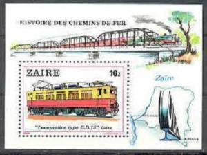 ZAIRE SHEET MNH TRAINS LOCOMOTIVES RAILWAYS