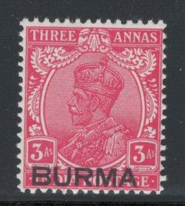 Burma 1937 Overprint 3a Scott # 7 MH