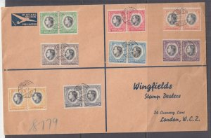 SOUTH WEST AFRICA, 1937 Coronation set of 8, Large Wingfields Aimail cover