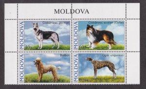 Moldova # 539-542, Dogs, Block of Four, NH, 1/2 Cat.