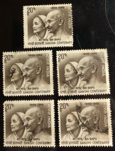 India Scott#497 F/VF Used Gandhi and wife 5 stamps Cat. $0.50