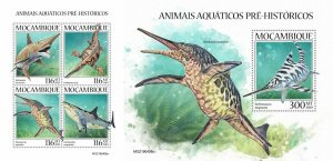 Z08 IMPERF MOZ190408ab MOZAMBIQUE 2019 Prehistoric water animals MNH **