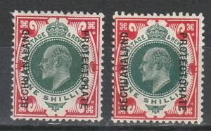 BECHUANALAND 1904 KEVII 1/- BOTH COLOURS