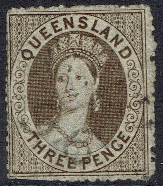 QUEENSLAND 1860 QV CHALON 3D WMK SMALL STAR ROUGH PERF 14- 16 USED
