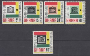J28480, 1966 ghana set mnh #264-8 unesco
