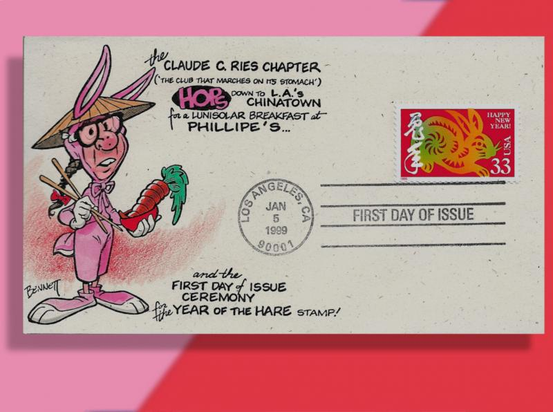 Phil Lattely Enjoys Carrot Chow Mein on Handcolored 1999 Year of the Rabbit FDC