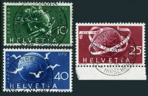 Switzerland 322-324,used.Mi 522-524. UPU-75,1949.Symbols,Globe,Pigeons.