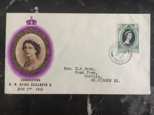 1953 Leeward Islands First Day Cover QE II Queen Elizabeth coronation FDC