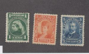 NEWFOUNDLAND (MK924)  # 80,83,85  FVF-MNG 1,3,5cts ROYAL FAMILY ISSUES CAT $80