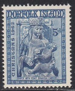 Norfolk Island # 45. Christmas - Madonna & Child, NH, 1/2 Cat.