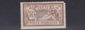 FRENCH COLONIES CRETE 1902 SG 12 50C LAV & BRN  MH SHORT CORNER PERF