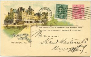 Place Viger Hotel CPR PERFIN uprated War Tax Aug 1915 stationry post card Canada