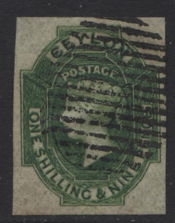 CEYLON -Scott 12 -QV -Definitive Issue-1859-VFU -Imperforate-Single 1/9p Stamp