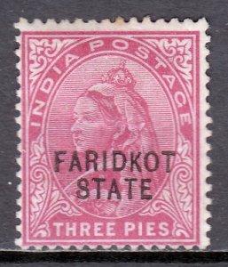 India (Faridkot) - Scott #13 - MH - Hinge crease, pencil/rev. - SCV $2.25