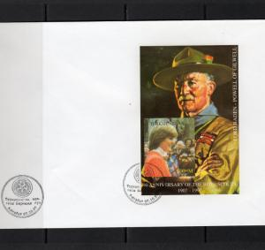 Turkmenistan 1997 YT#12 Lord Baden-Powell/Princess Diana S/S Imperforated FDC