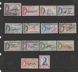 Turks & caicos isles 1957 Original vals to 10/- FU SG 237/50