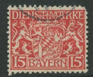 Bavaria -Scott O11- Coat of Arms -1916-17 - Used - 15pf Stamp