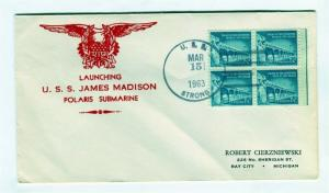 US Naval Ship Cover - USS STRONG - 1963 Submarine