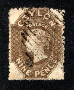 Ceylon #31, F/VF, Used, Wmk. 6, CV $85.00 ....  1290023