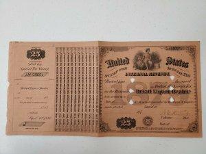 US 1879 $25 Internal Revenue Special Tax Liquor Dealer Stamp Sheet
