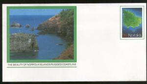 Norfolk Island Beauty of Rugged Coastline Postal Stationery Envelope Mint # 7426