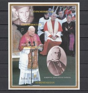 Turkmenistan, 1998 Russian Local issue. Pope with Cardinal s/sheet.