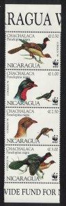 Nicaragua Birds WWF Highland Guan Strip of 4v SG#3509-3512 MI#3455-3458 SC#2067
