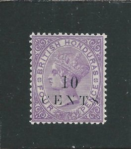 BRITISH HONDURAS 1888 10c on 4d MAUVE VLMM SG 28 CAT £70