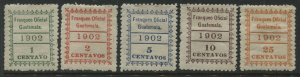 Guatemala 1902 Official stamps set of 5  mint o.g. hinged
