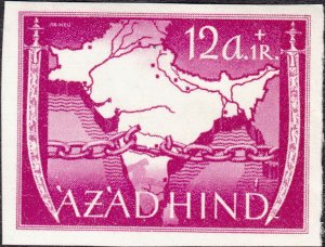 Stamp Germany India Mi 06 1943 WW2 3rd Reich Azad Hind Legion Map ImPerf MNG