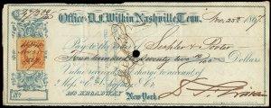 c098 U.S. R15c on Nov 1867 check, D.F. Wilkin, Nasville TN, ornate baby blue