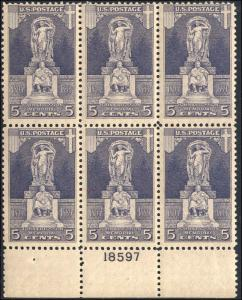 1926 US Stamp #628 A189 5c Mint Hinged Plate Block of 6 Catalog Value $60