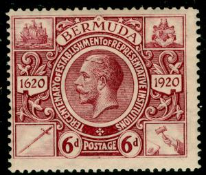 BERMUDA SG72, 6d purple, LH MINT. Cat £19.