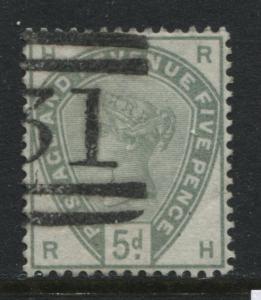 1884 5d green SG 193 RH with an Edinburgh part numeral 131