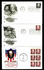 U.S. #1394, 1395b & 1402 Eisenhower Issue First Day Covers - Set of 3 (ESP#051)