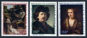 Dahomey C113-C115,MNH.Michel 403-405. Paintings 1969.Gustave Coubbet,Rembrandt.