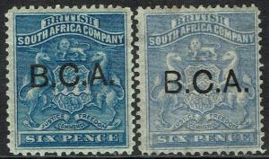 BRITISH CENTRAL AFRICA 1891 BCA OVERPRINTED RHODESIA ARMS 6D BOTH SHADES