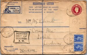 London > Lewdown UK 1952 registered Course IS stationery & stamps cover