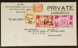 Rangoon Burma Berne Switzerland Bank India Australia & China Air Mail Ad Cover