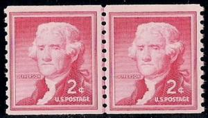 1055S 2 cent 1954 Thomas Jefferson LP Stamp mint OG NH VF
