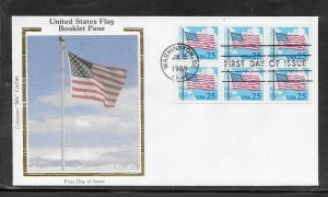 US #2285Ac Flag Booklet Pane Colorano Silk cachet unaddressed fdc