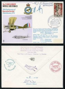RAF21c No.21 Squadron RAF Signed by E.J.D. Townesend and Mons Henri Moisin