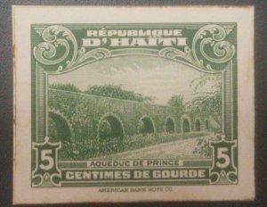 L) 1933 HAITI, PRINCE ACUEDUC, DIE PROOFS, 5C, GREEN, AMERICAN BANK NOTE, CARDBO