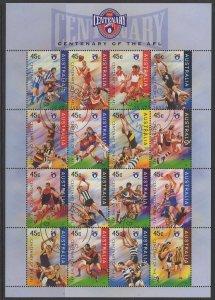 AUSTRALIA SG1590a 1996 AUSTRALIAN FOOTBALL LEAGUE SHEETLET FINE USED