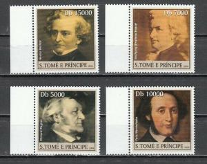 St. Thomas, 2004 issue. Classical Composers on 4 values. ^