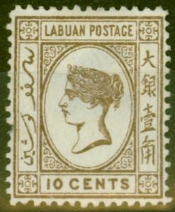Labuan 1892 10c Brown SG43d Stolen Jewel Ave Unused
