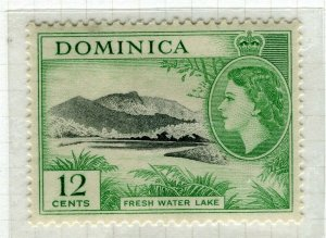 DOMINICA; 1954 early QEII issue fine Mint hinged 12c. value