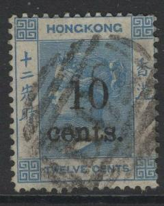 HONG KONG SG25 1880 10c on 12c PALE BLUE USED