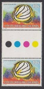 Cocos Islands 37 gutter pair MNH
